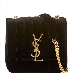 Saint Laurent Vicky monogram velvet shoulder bag